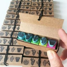 A bunch of mini cactus sets ready to be shipped. Hand carved rubber stamps by CassaStamps A bunch of mini cactus sets ready to be shipped. Hand carved rubber stamps by CassaStamps Cactus Decor, Cactus Plants, Succulent Plants, Mini Plants, Indoor Cactus, Cactus Art, Succulent Terrarium, Succulents Garden, Eraser Stamp