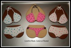 Made these for my husbands birthday. Bikini Cookies, Summer Beach Party, Kinds Of Cookies, Cupcakes, Wedding Cookies, Husband Birthday, Cookie Designs, Decorated Cookies, Cookie Monster