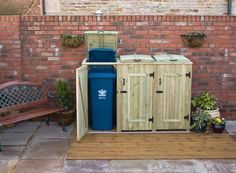 Cant wait to start a recycling system at home! Gunna have to be one more bin, bigger. Patio, Backyard, Garden Huts, West Facing Garden, Outside Storage, Recycling Bins, Recycling Station, Dream Furniture, Garden Architecture