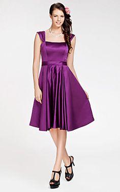 a-lijn vierkante knielange satijnen bruidsmeisje jurk – USD $ 89.99