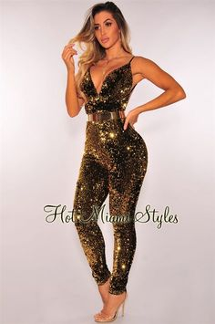 ca3d5c73486 Gold Sequins Open Back Jumpsuit