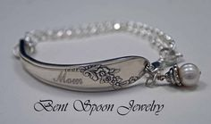 MOM ID Style Engraved Spoon Bracelet, Queen Bess 1946, Engraved Wedding Day Gift