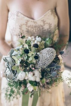 winter wildflower bouquet - photo by Gather West http://ruffledblog.com/california-camp-wedding-with-western-details #weddingbouquet #flowers #bouquets