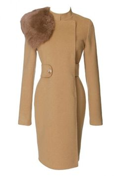 Khaki Trendy Womens Fox Fur Collar Warm Winter Tweed Coat