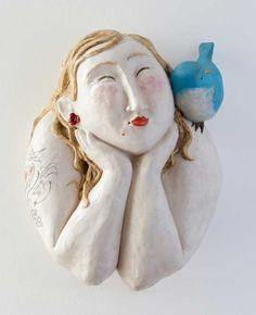 Blue - woman with bird - Isabelle Decencière - ceramic sculpture Human Sculpture, Sculptures Céramiques, Sculpture Clay, Ceramic Clay, Ceramic Pottery, Pottery Art, Ceramic Figures, Clay Figures, Pottery Sculpture