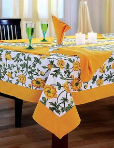 Colorful Multicolor Cotton Spring Floral Tablecloths Tables 60 X 84 Inches, Turmeric Yellow Border * Visit the image link more details. (This is an affiliate link) Dining Table Cloth, Table Runner And Placemats, Table Linens, Yellow Tablecloth, Catering Table, Boho Home, Lace Table, Table Covers, Dinner Table