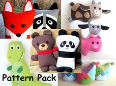 Softie Sewing Patterns for Stuffed Panda & Teddy Bears, Fox, Raccoon Pillows, T-REX Dinosaur, Cow, Pig, Lamb, Owl Pillows, PDF Tutorials