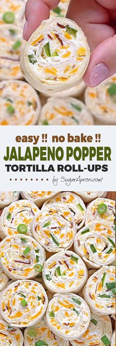 Jalapeno Popper Tortilla Roll Ups - Sugar Apron Jalapeno Popper Tortilla Roll Ups are a simple and fun bite sized spin on ever popular jalapeno poppers! Always a crowd pleaser, perfect for game day party. Mexican Appetizers, Finger Food Appetizers, Yummy Appetizers, Mexican Food Recipes, Appetizer Recipes, Pinwheel Appetizers, Wedding Appetizers, Finger Foods, Jalapeno Recipes