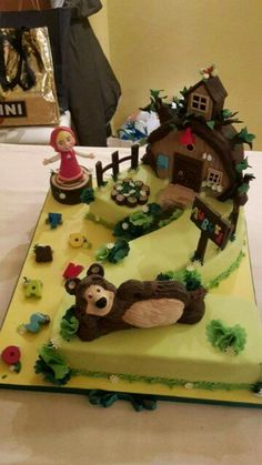 2 Masha And The Bear, Pastel, Bear Cakes, Sweet Desserts, Gingerbread, Birthday Cake, Lily, Amazing Cakes, Food