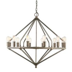 family room chandelier | family room / Lauren by Ralph Lauren Industrial Pipe Chandelier -12 ...