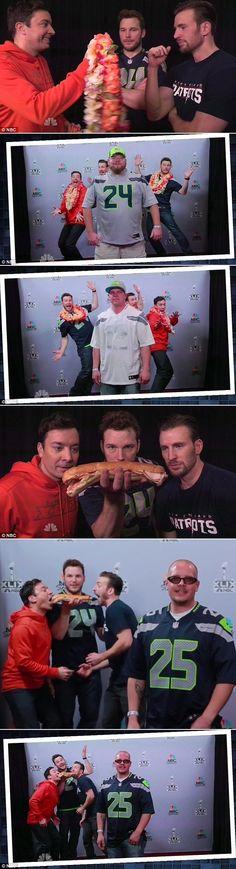 Chris Pratt and Chris Evans photobomb Super Bowl fans' photos with Jimmy Fallon