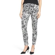 Women's Jen7 Floral Print Sateen Stretch Ankle Skinny Pants ($169) ❤ liked on Polyvore featuring pants, etched floral, stretch trousers, sateen pants, 5 pocket pants, floral trousers and white stretchy pants