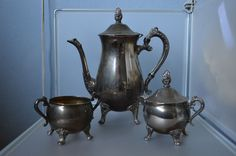 Vintage EP Silver Plated Over Brass Tea/Coffee, Sugar and Creamer Set