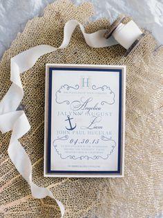 Pretty nautical invitations: http://www.stylemepretty.com/california-weddings/newport-beach/2015/07/20/elegant-newport-yacht-wedding-on-the-water/ | Photography: Mariel Hannah - http://www.marielhannahphoto.com/
