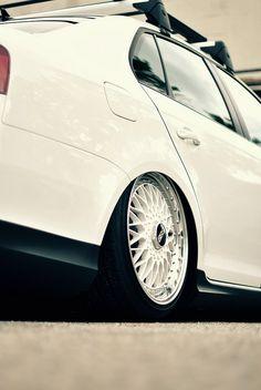 White Volkswagen Jetta MK5 on White BBS Super RS