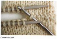 Eine optisch interessante Verbindung zweier Strickteile mittels einer Häkelnadel - von tichiro.net dem Buch