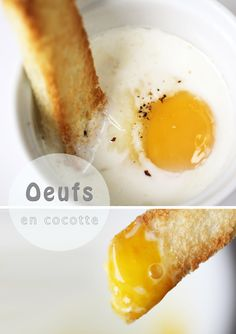 Basic Oeufs en Cocotte - French Eggs in Pot Recipe _ Oeufs means eggs. En Cocotte means in pot. It's very simple but tasty. If you like cooked egg white with runny egg yolk & cream, this will make a delicious breakfast. Let's get cooking! Breakfast Items, Best Breakfast, Breakfast Recipes, Egg Recipes, Snack Recipes, Snacks, French Eggs, French Food, Basted Eggs