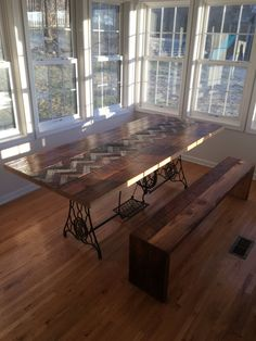Reclaimed Wood Table with Antique Machine Base and by decoratelier Brooklyn Brownstone, Barn Table, Wood Table, Barn Wood, Wood Projects, New Homes, Flooring, Antiques, Interior