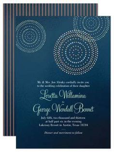 Incorporate the 4th of July into your summer wedding with subtle details that avoid being too literal. This fireworks-inspired blue wedding invitation suite is perfect for the occasion.