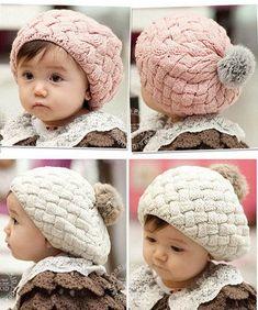 Handmade Knit Crochet Baby Beret