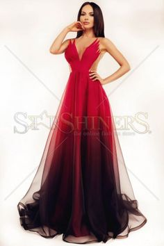 Ana Radu True Legend Red Dress, back zipper fastening, voile fabric, slightly transparent fabric, nonelastic fabric Fancy Wedding Dresses, Ombre Prom Dresses, Bridal Dresses, Formal Dresses, Dresses Dresses, Ombre Gown, Chic Dress, Tulle Dress, Beautiful Gowns