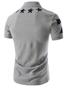 Buy Men's Casual Polo Shirt Short Sleeves Stars Printed Cotton Blend Regular Fit + Free Shipping