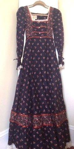Vintage 70s Gunne Sax Prairie Maxi Dress Black Sz S 100% Cotton Hippie Era #GunneSax