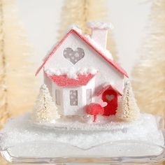 Simple red & white glittery Valentine Putz House...red is my happy color!  #etsyshop #valentinedecor #putzhouse #diycrafts #valentine #papercraft     #glitterhouse #pursuepretty #makersgonnamake #crafty #hearts #loveisallyouneed #abmlifeiscolorful #red #papercrafts #diyvalentines #homeiswhereverimwithyou