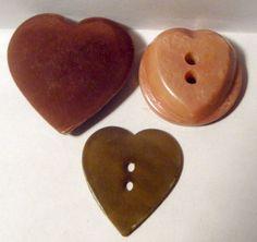 3 vintage celluloid heart buttons