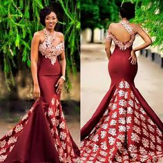 2017 New Arabic High Neck Satin Mermaid Evening Dresses Lace Applique Floor Length Formal … – African Fashion Dresses - African Styles for Ladies African Prom Dresses, African Wedding Dress, African Fashion Dresses, Ghanaian Fashion, Pageant Dresses, African Weddings, Ankara Fashion, Long Dresses, Ghana Wedding Dress