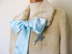 Faux Fur Jacket with Satin Bow and Rhinestone by iggyfrankiecab, $265.00