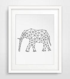 Origami Art, Geometric Elephant, Elephant Print, Printable Art, Geometric Prints, Wall Prints, Digital Art, Downloads, Elephant Art