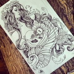 Im considering adding color tattoo sketches, tattoo drawings, tatoo Nature Tattoos, Body Art Tattoos, New Tattoos, Tatoos, Tatoo Art, Tattoo Ink, Arm Tattoo, Tattoo Sketches, Tattoo Drawings