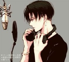 Levi Ackerman, microphone, headphones, studio; Attack on Titan