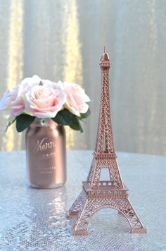 The magnifique design of these french inspired Eiffel Towers are sure to be eye catching at your Paris themed soirée wedding or party! Most commonly used as event table decor, we Rose Gold Room Decor, Rose Gold Rooms, Gold Bedroom Decor, Bedroom Ideas, Eiffel Tower Centerpiece, Cute Room Decor, Paris Wedding, Event Decor, Small Weddings