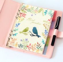 2017 6 Holes Colored Notebook's Index Page Matte Spiral Book Category Page Office Planner Accessories Planner Dividers, Planner Inserts, Flower Garden Planner, Stationary Store, Index Page, Planner Dashboard, Book Categories, Labor, Watercolor Bird