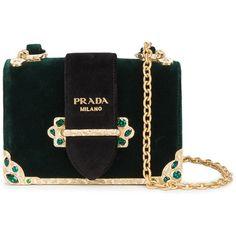 Prada velvet Cahier shoulder bag ($2,350) ❤ liked on Polyvore featuring bags, handbags, shoulder bags, green, shoulder handbags, structured handbags, chain shoulder bag, prada and antique purses
