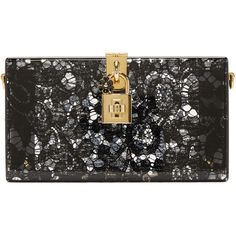 Dolce and Gabbana Black Plexiglass Lace Clutch (€1.935) ❤ liked on Polyvore featuring bags, handbags, clutches, black, chain strap purse, studded purse, dolce gabbana handbags, studded handbags and box clutch