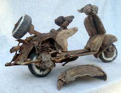 Vespa scooter 1950's driftwood by Tony Fredriksson www.openskywoodart.com