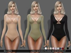The Sims Resource: Long Sleeves Plunge Neck Bodysuit by Bill Sims • Sims 4 Downloads