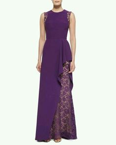 Lace-Inset Ruffled Gown by Elie Saab at Bergdorf Goodman. Purple Evening Gowns, Evening Dresses, Beautiful Gowns, Beautiful Outfits, Elie Saab Kleider, Elie Saab Dresses, Lace Dress, Dress Up, Lace Inset