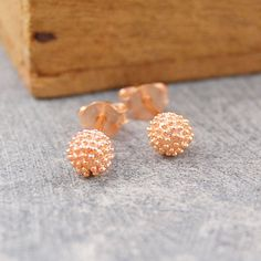 Rose Gold Tiny Bubble Stud Ball Earrings silver plated