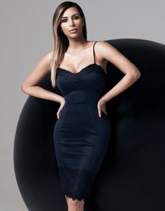 Kardashian Kollection For Lipsy cami dress featuring lace trim detail. A perfect stand out party look this season! S/S14