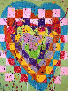 I've seen this project done a few different ways by a few different art teachers and thought I'd give it a try.  It is a quick, two day lesson.  We started with 2 pieces of construction paper (any color of their choice) in a 9x12 size.  We made concentric hearts on each of them using different colors for each page and trying to make them close to the same size.  Second day, we cut the papers up, wove them together, and finally added a little splatter paint action for the finishing touch!