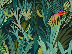 DINOS- Juliette and James hiding in the forest - Nannona - illustration