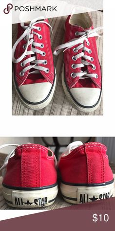 Red Converse Pre-loved Red converse! Will scrub & clean before sending. ❤️ Converse Shoes Sneakers