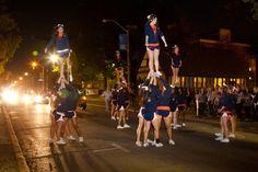 Illini Cheerleaders stand tall.    (Photo by L. Brian Stauffer)