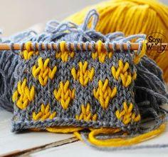 Introducción a Jacquard: Flor de Lis Point - Muestrario de Puntos a dos agujas - Baby Knitting Patterns, Knitting Charts, Knitting Stitches, Knitting Designs, Knitting Projects, Stitch Patterns, Crochet Patterns, Crochet Motif, Knit Crochet