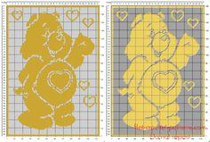 Filet crochet baby blanket free pattern with Tenderheart from Care Bears