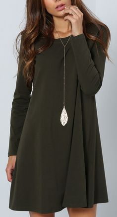 Dark Green Long Sleeve Designer Casual Dress - cheap watches for women, store watches, store watches *ad Fall Dresses, Cute Dresses, Fall Outfits, Casual Dresses, Cute Outfits, Casual Dress For Fall, Green Dress Casual, Comfy Dresses, Summer Dresses